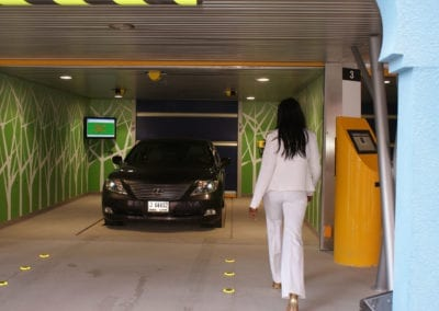 Safely retrieve your car from the well-lit entry / exit terminals.