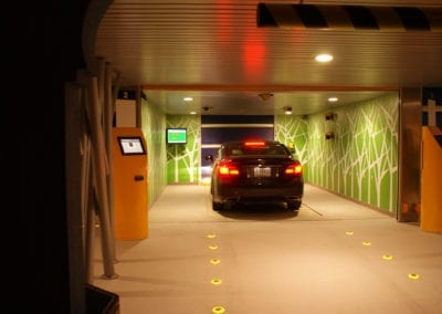 Evening parking at a Robotic Parking System.