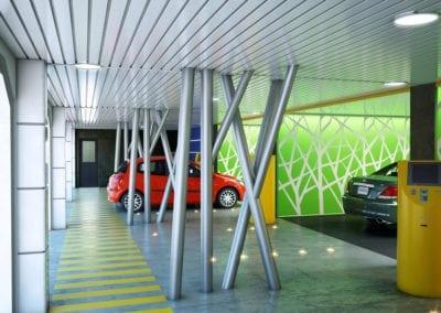 Robotic car park entry / exit terminals.