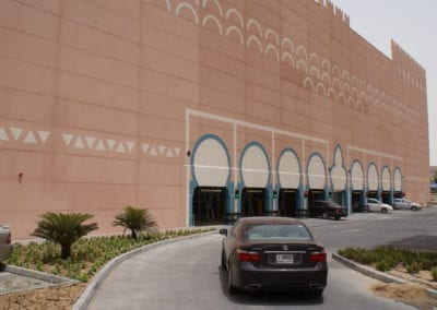 Cars entering and leaving the Robotic Parking System at Ibn Battuta Gate in Dubai, UAE.